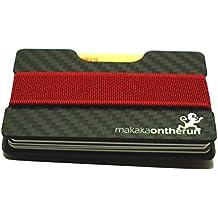 Ultra-Slim Minimalist Card Holder (Real Carbon Fibre). NFC & RFID blocking protection. (Minimalist wallet, slim credit card wallet for men, thin designer billfold, mini rfid card case) (Black)