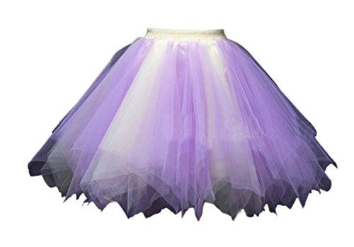 Honeystore Damen's Tutu Unterkleid Rock Abschlussball Abend Gelegenheit Zubehör Violett und Gelb