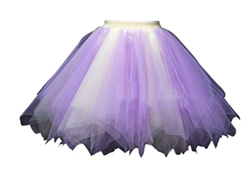 Honeystore Women's Short Vintage Ballet Bubble Puffy Tutu Petticoat Skirt Purple Yellow