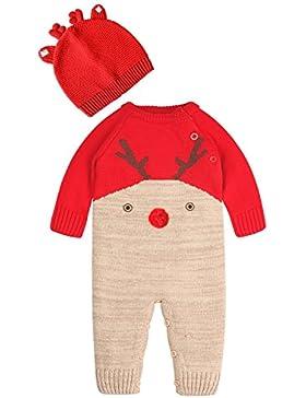 Zoerea Neugeborenes Baby Mädchen Junge Strick Strampler Watte Weihnachten warme Pullover mit Hut Elch Hirsche...