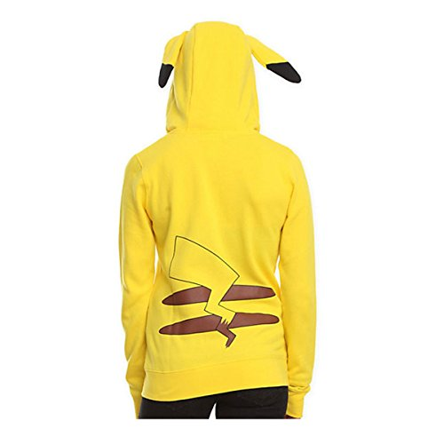 Image of Pokemon Anime Pikachu Jacket Cosplay Ears Face Tail Zip Hoody Shirt Hoodies S