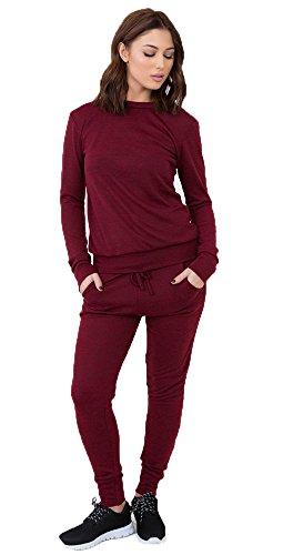 Da donna Tinta unita loungewear Set Due Pezzi Pantaloni Tuta Wine 40