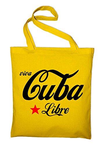 Viva Cubo Libre Viva La Revolucion Borsa In Juta, Borsa, Borsa In Tessuto, Borsa In Cotone, Giallo Giallo
