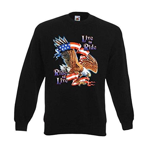 Sweatshirt Live to Ride Ride to Live, american style Pullover mit Adler und US Sternenbanner, Männer & Biker Fashion, große Größen (ABR00244) 3XL Ride Herren Pullover
