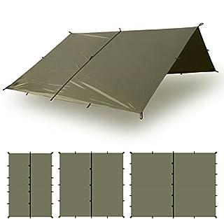 Aqua Quest Defender Tarp - 100% Waterproof Heavy Duty Nylon Bushcraft Survival Shelter - 3x3 Olive Drab