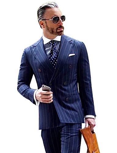 YZHEN Herren Männer Anzug Streifen Zweireiher Prom Smoking Party Dinner Jacket Hose Sets