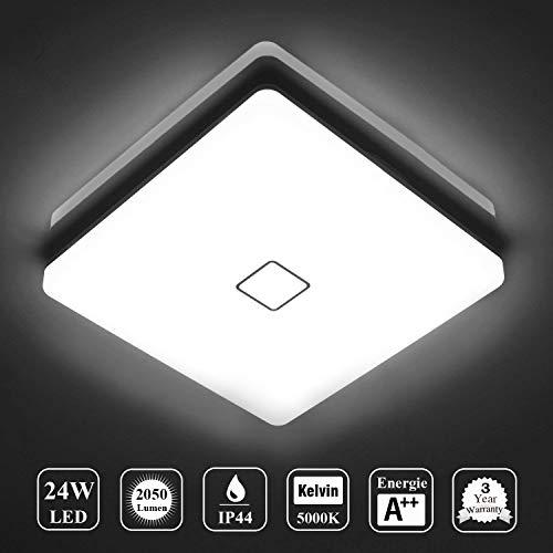 Deckenlampe LED Deckenleuchte Wasserdicht Lampe Decke Moderne Quadratische  Dünne 24W 2050LM IP44 5000K Kaltweiß Öuesen Deckenlampe Badezimmer Küche ...