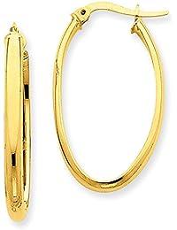 1par Oro Pendientes Pendientes de aro ovalada de 585oro amarillo de 14quilates (3x 20mm de diámetro)–prio141