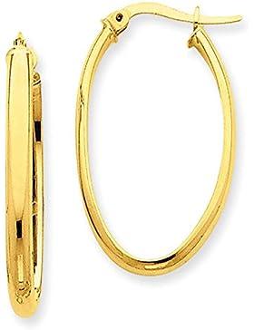 1 Paar Gold Ohrringe Creolen Oval Aus 14 Karat 585 Gelbgold ( 3 x 20 Ø mm ) - PRIO141