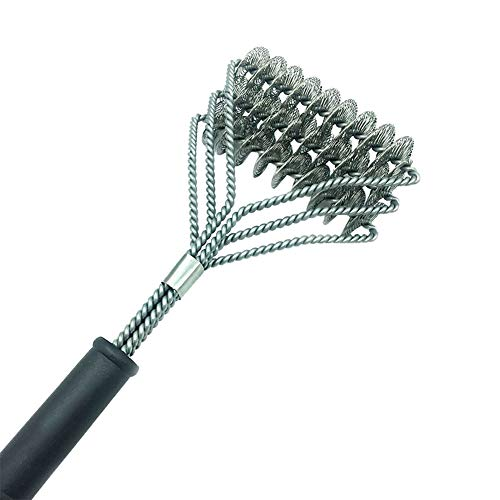 Lsgepavilion 3 Heads Steel Wire BBQ Cleaner Tool Home Barbecue Oven Grill Cleaning Brush Scraper