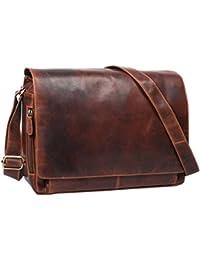 STILORD 'Robin' Vintage Serviette en cuir / Sac a main grande / Sac en bandoulière pour femmes et hommes sac à l'épaule pour Laptop 15.6 pouces en cuir, Couleur:antique - marron