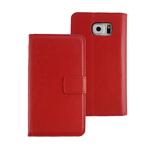 TCD für Samsung Galaxy Note 5[Nur] Stylische Schutzhülle Slim anspruchsvolles Farbe PU Leder Geldbörse mit Kreditkarte Slots [inkl. Gratis Displayschutzfolie und Stylus Pen], Rot -
