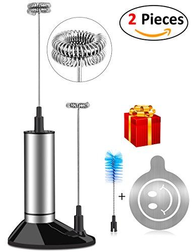 Milchaufschäumer, MrLi Milchschäumer Elektrischer Milchaufschäumer Stab mit Batterie (Einzelner und Doppelter Schneebesen + Kaffee Schablonen + Bürste) Milchaufschäumer mit Ständer Kaffee Ei (2018 New)