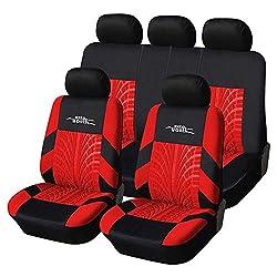 Universal-Autositzbezug mit Kopfstütze - 100% atmungsaktiv Sitzbezug abwaschbar Auto-Bezüge Ersatz für die meisten Autos (schwarz/rot)