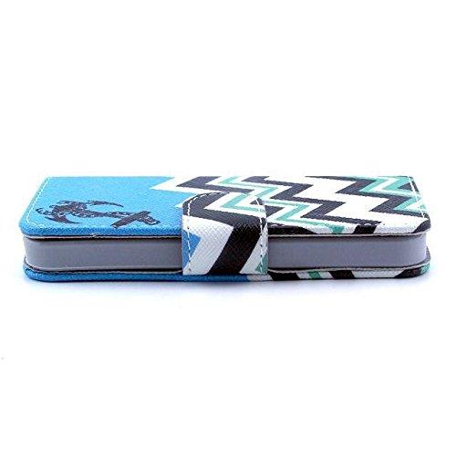 yaobaistore Fashion mignon Lovely Étui à rabat en cuir PU Housse portefeuille Cover avec plusieurs supports carte d'identité et extérieur argent poche pour Apple iPhone 55G 5S - Anchor