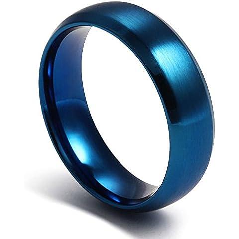 Da donna in acciaio INOX, da uomo, colore: blu, tinta unita-Anello nuziale a fascia, opaca e lucida, larghezza 6 mm