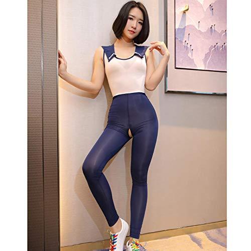 uwant:)sexy clothes Erotische Dessous Feminine Einteilige Strumpfhose offene Datei Perspektive Schuluniformen Versuchung @ Navy Blue_M -