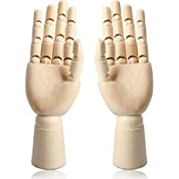 "12"" Wooden Hand Body Artist Model Jointed Articulated Flexible Fingers Wood Sculpture Mannequin Model (Pair of Hands)"