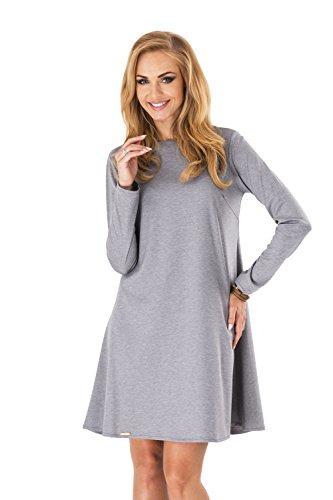 Klassisches Minikleid Trapez-Kleid Tunika Top Gr. 36 38 40 42 M123 Grau