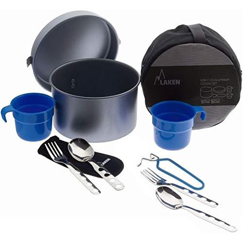 Laken Fiambrera Camping batería de cocina de aluminio antiadherente, LP2NSC, 53 oz Non-Stick with with 2 Sets of Cutlery and Cup, 53oz