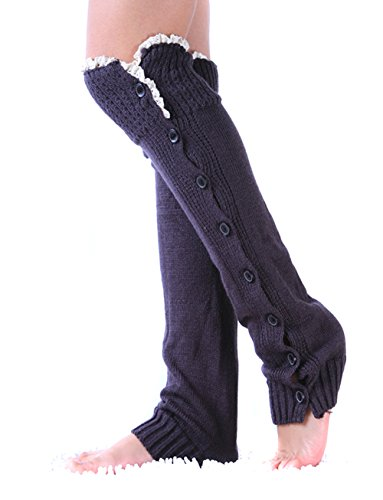 TININNA Lovely Women Knitted Button Down Lace Trim Legwarmer Boot Cover Sock Winter Cold Weather Leg Warmer Test