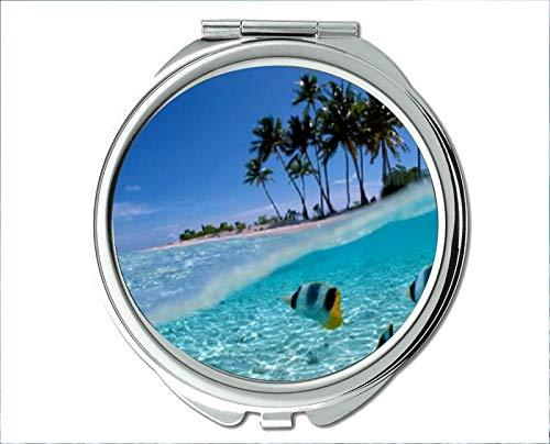 Yanteng Spiegel, Reisespiegel, Bassfischthema des Taschenspiegels, tragbarer Spiegel 1 X 2X Vergrößerung