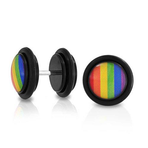 Bling Jewelry LGBT Rainbow Gay Pride Schwarz Cheater Faux Stecker Ohrring Für Unisex 14 G Edelstahl -