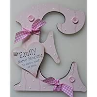 Name Meaning Baby GIRL Wooden Letter **ANY LETTER with ANY NAME Available** Personalised (LIGHT PINK)