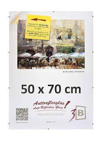 3B Photo Frame Frame Clip with Lumex A PET Polyester Antireflex Plate - Clip Frame 50 x 70 cm (B2)
