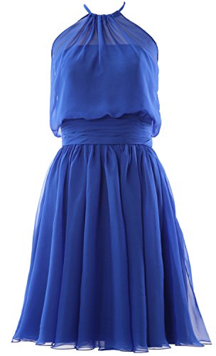 MACloth Women Halter Chiffon Short Bridesmaid Dress Cocktail Formal Party Gown Royal Blue