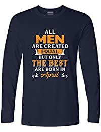 Addmetocart Solid Men's All Men Are Created Equal But Only The Best Are Born In April Full Sleeve Navy T-Shirt