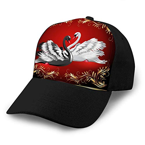 Herren Kostüm Swan Black - Xunulyn Hat Cotton Baseball Cap Plain Cap Adjustable Cap White Black swan red Background Electric Spring