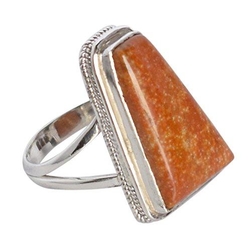 Auténtica piedra de jaspe oceánico 925 de plata de ley maciza hecha a mano anillo SZ 9.5 FSJ-1640