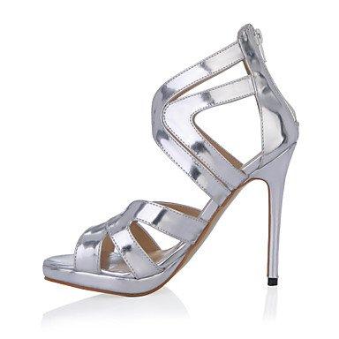 LFNLYX Sandales femmes Confort d'été PU Partie & robe de soirée argent talon aiguille Silver