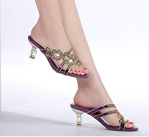 ZYUSHIZ  Sandales chaussons d'été Mme au style minimaliste Version coréenne Faites glisser T 38EU