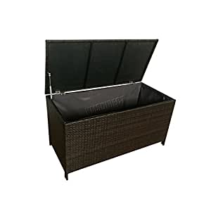 Foxhunter Garden Furniture Rattan Storage Box Lid Woven Chest Basket Large Patio Outdoor Trunk