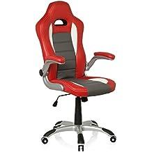 hjh OFFICE 621705 silla de gaming RACER SPORT piel sintética rojo / blanco, apoyabrazos plegables