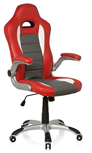hjh OFFICE Racer Sport Silla giratoria, Blanco y Rojo, 47.00x54.00x133.00 cm