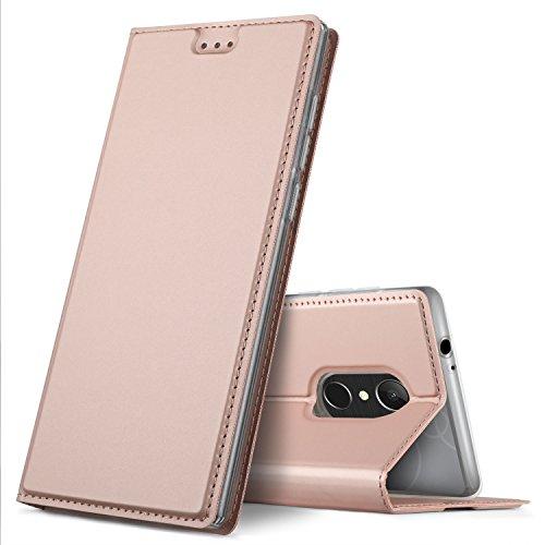 GeeMai BLU VIVO xl+ / XL plus Hülle, BLU VIVO xl+ / XL plus Leder Hülle Flip Case Wallet Stylish mit Standfunktion und Magnetisch Ledertasche Schutzhülle handyhüllen für BLU VIVO xl+ / XL plus Smartphone, Rosegold