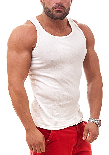 BOLF Herren Tanktop T-Shirt Tee Ärmellos Classic Basic 3C3 Motiv Weiß