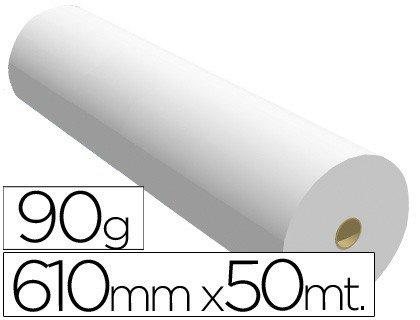 Fabrisa 7610509 - Rollo de papel para plóter, 90 g, 610 mm x 50 m, Unidades contenidas: 1