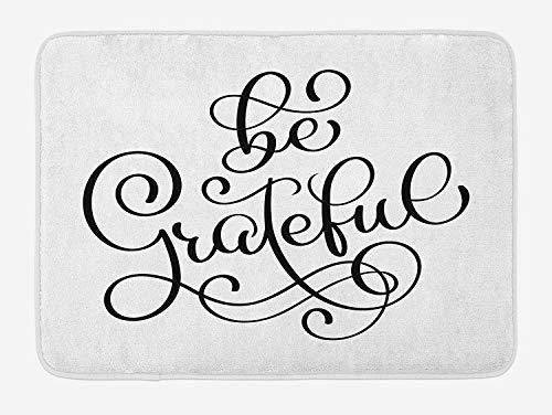 ASKYE Be Grateful Bath Mat, Motivational Hand Lettering Pattern Victorian Style Swirls and Curlicues, Plush Bathroom Decor Mat with Non Slip Backing, 23.6 W X 15.7 W Inches, Black and White White Swirl Glass Bowl