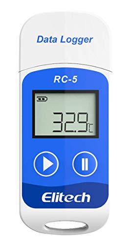 Elitech RC-5 Temperatur Datenlogger - Mini USB Temp Rekorder Interner Externer Sensor Hohe Genauigkeit Temperatur Data Logger 32000 Punkte Record Wasserdicht nach IP67 für Lager Labor und Hause usw (Temperatur-recorder)