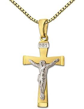 CLEVER SCHMUCK Goldener Anhänger 22 mm Jesus Kreuz flach mit INRI bicolor, teils weiß rhodiniert matt und glänzend...