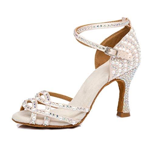 MGM-Joymod - Zapatos de Baile para Mujer con Tiras Cruzadas de satén y Perlas, Color Beige, Talla 39...