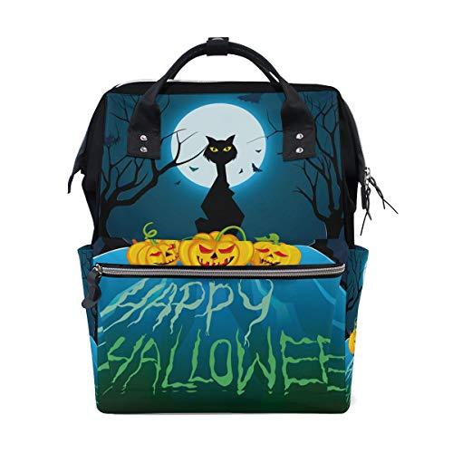 Multifunktionsrucksack Rucksack Perfekter Halloween Vollmond Nacht Schwarz Katze Kürbis Fledermaus Reise Kindertagesstätte für Frauen Mädchen -