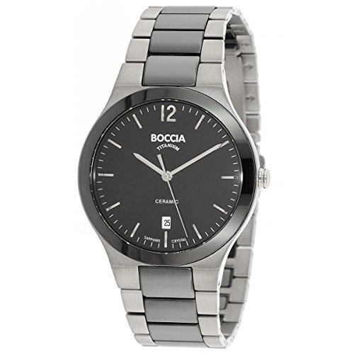 Boccia Herren Analog Quarz Uhr mit Titan Armband 3598-01