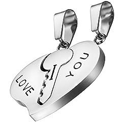 Idea Regalo - 'oidea 2pcs Amicizia Collane con ciondolo, portachiavi in acciaio inox cuore puzzle