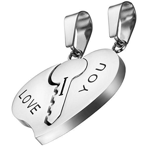Oidea 2PCS Freundschaftsketten mit Anhänger, Edelstahl Schlüssel Herz Puzzle