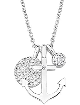 s.Oliver Damen-Kette mit Anhänger SO PURE Anker 925 Silber rhodiniert Zirkonia weiß 45 cm - 2017246